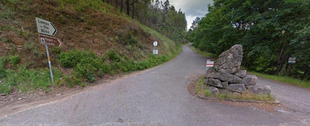 Estrada de acesso às piocas de cima - Fisgas do Ermelo (fonte: google earth)