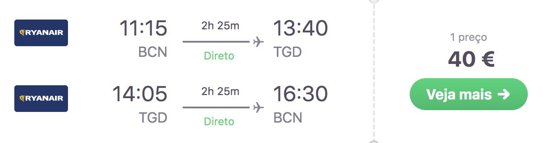 voos para montenegro