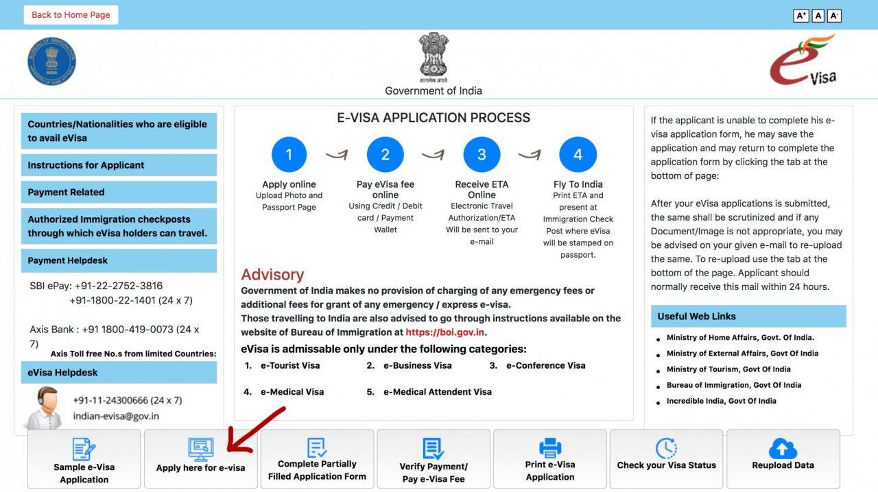 visto india formulario