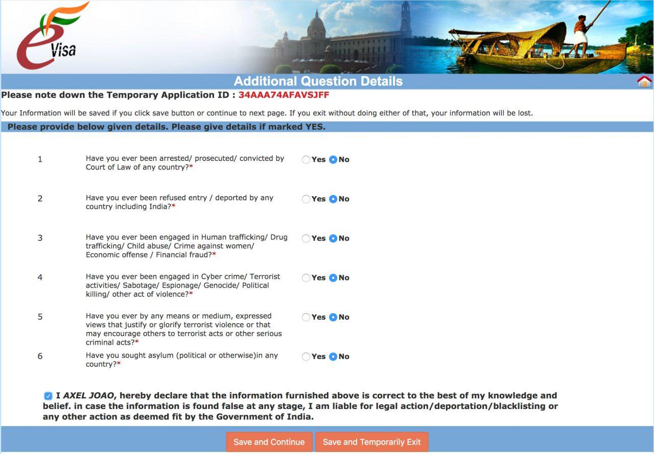 formulario governo indiano