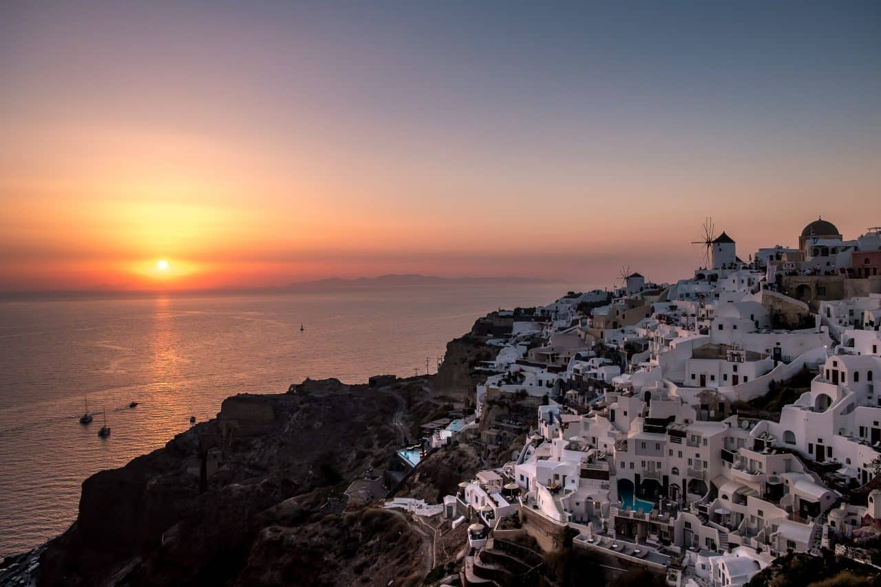 melhor pôr do sol Santorini