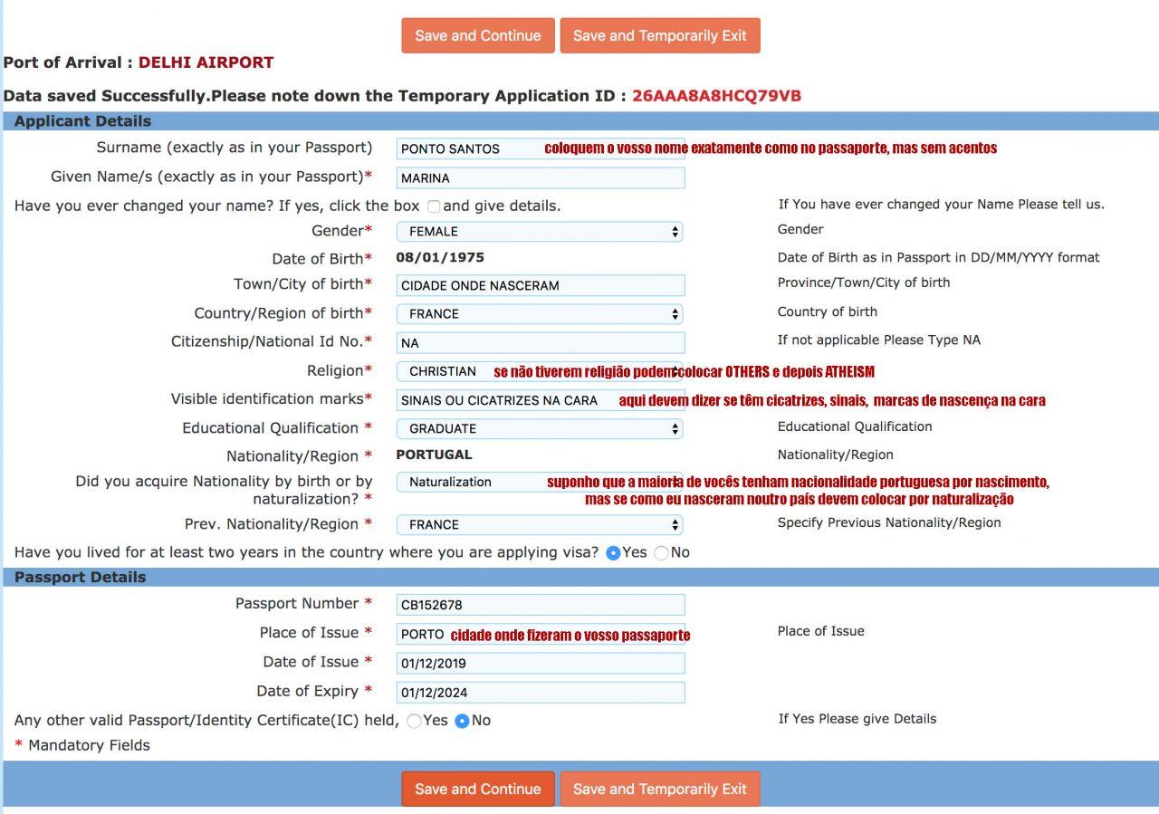 visto índia preencher formulário